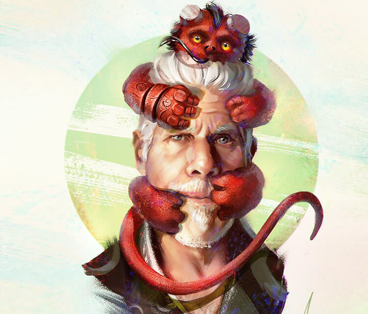 Ron Perlman and Hellboy digitalart by Aleksei Vinogradov