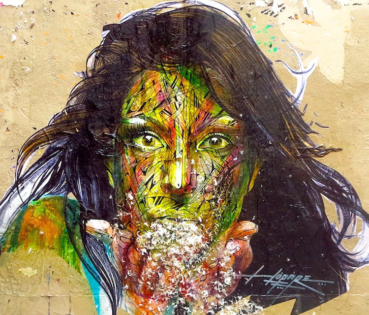 Face a face streetart by Alex Hopare