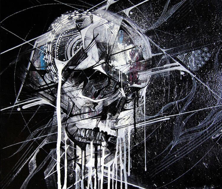Skull mixedmedia by Alex Hopare