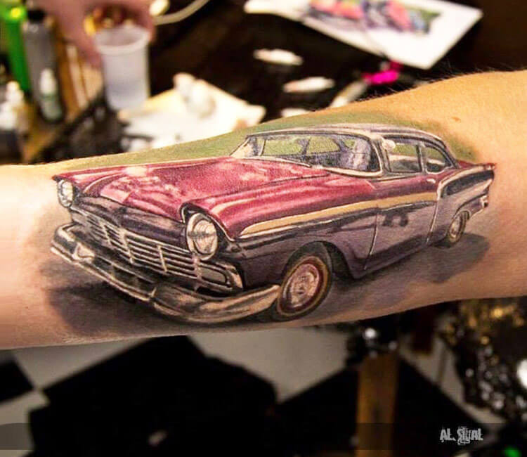 Oldschool car tattoo by Alexander Romashev