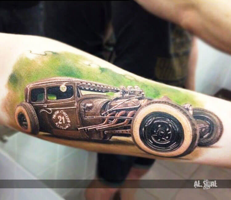 Oldschool tuned car tattoo by Alexander Romashev