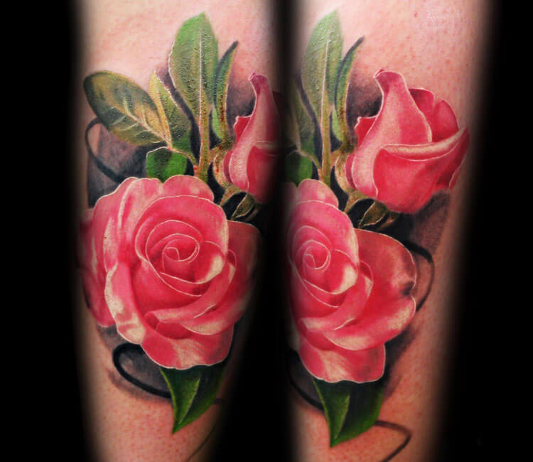 Red rose tattoo by Alexander Romashev