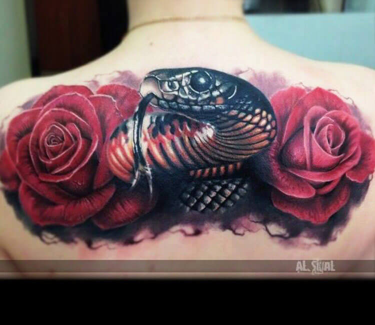 Snake and rose tattoo by Alexander Romashev