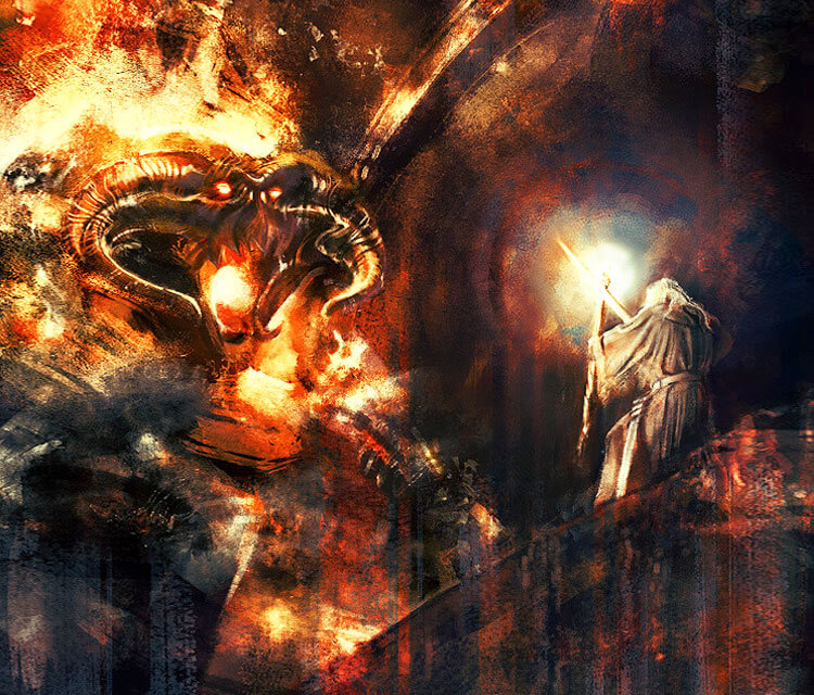Balrog vs Gandalf digitalart by Alice X Zhang