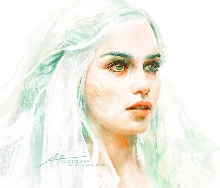 Daenerys Targaryen 2 painting by Alice X Zhang