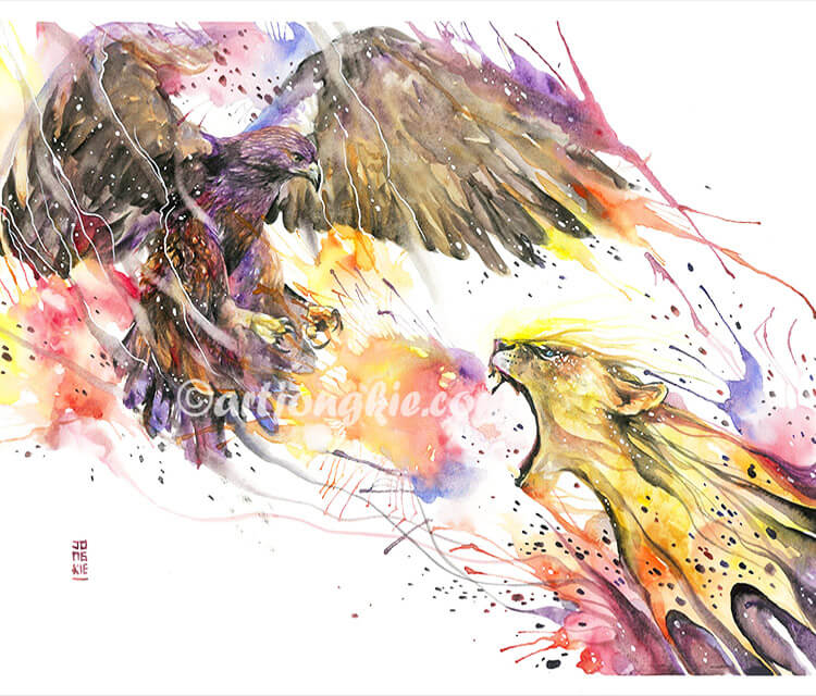 Animal inferno watercolor by Art Jongkie