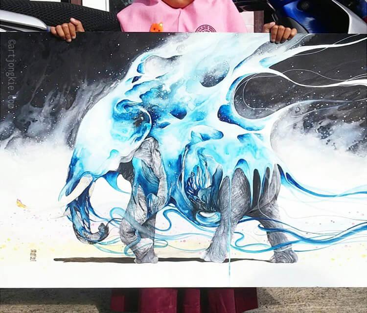 Elephant watercolor paint by Art Jongkie