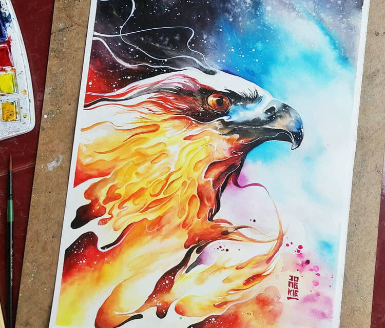 Burning Sky watercolor painting by Art Jongkie