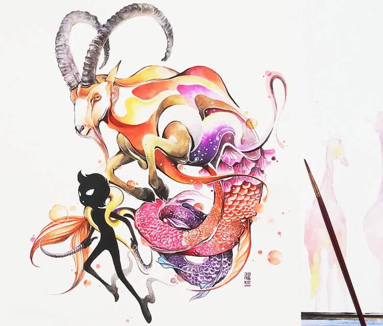 Capricorn painting by Art Jongkie