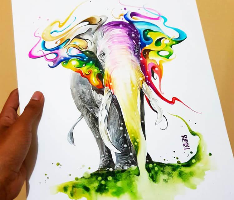 Colors of Life watercolor painting by Art Jongkie