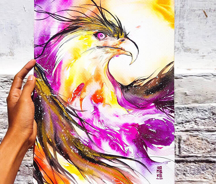 Garuda Phoenix watercolor painting by Art Jongkie
