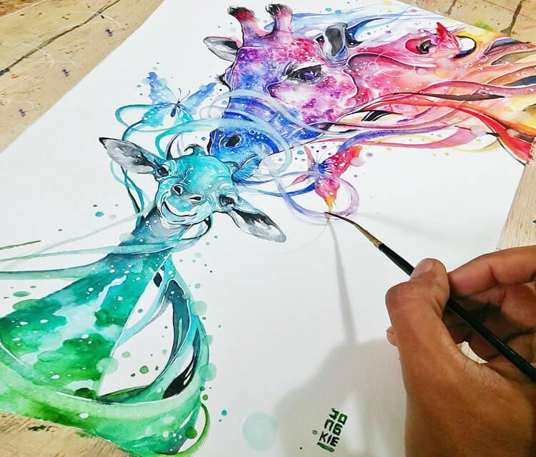 giraffes-love-watercolor-by-art-jongkie