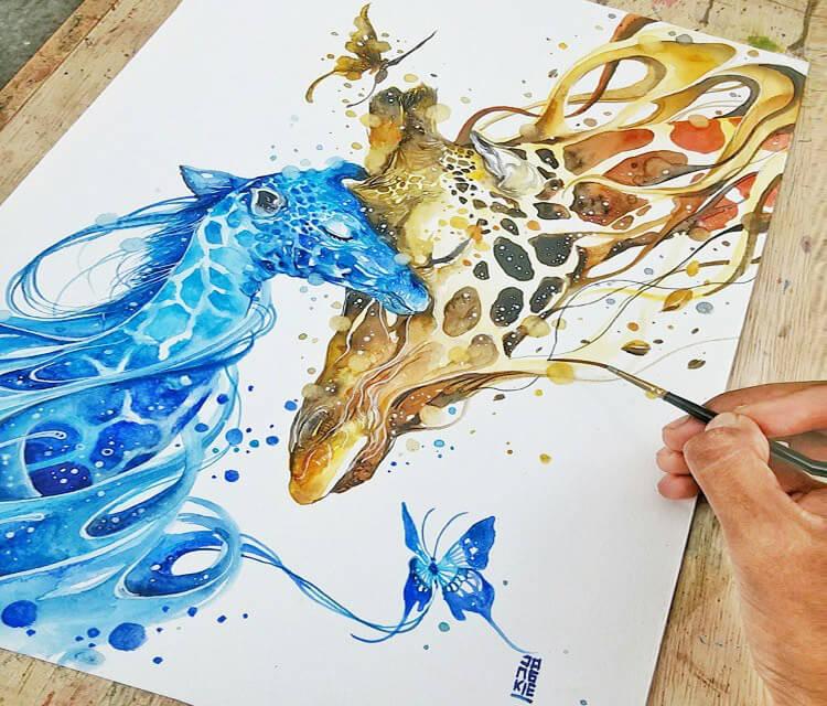 Giraffes love watercolor by Art Jongkie