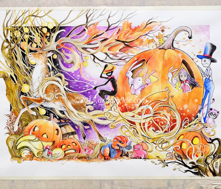 Happy Halloween watercolor painting by Art Jongkie