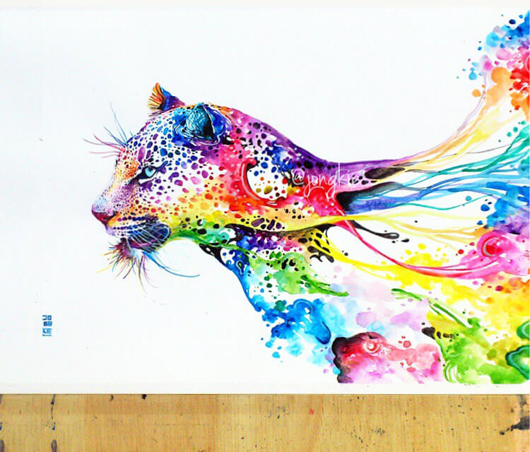 Leopard watercolor by Art Jongkie