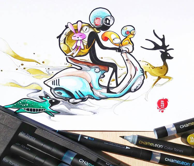 Lets Go marker drawing by Art Jongkie
