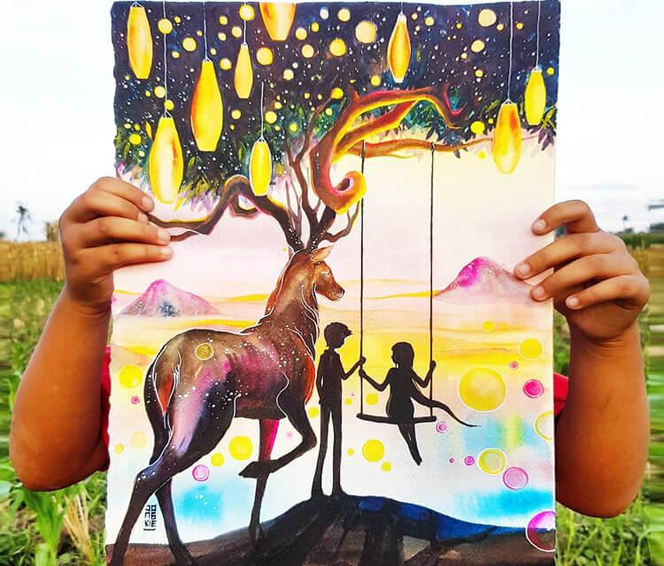 Life is Beautiful watercolor painting by Art Jongkie