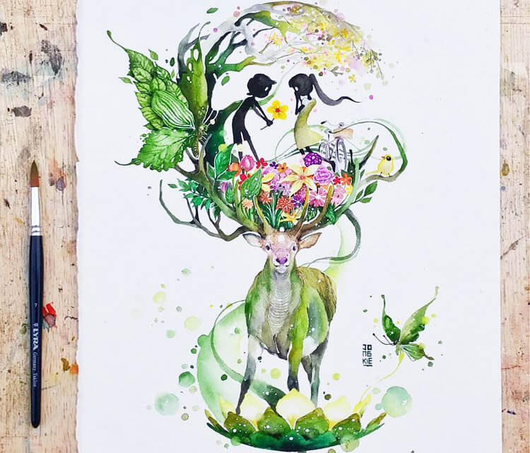 Lovely Spring watercolor painting by Art Jongkie