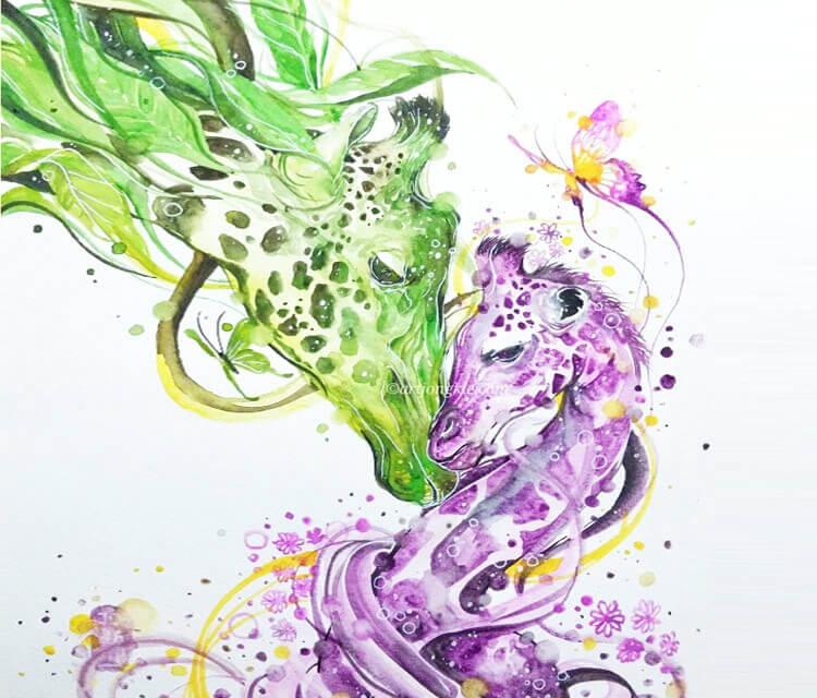 My Precious watercolor by Art Jongkie
