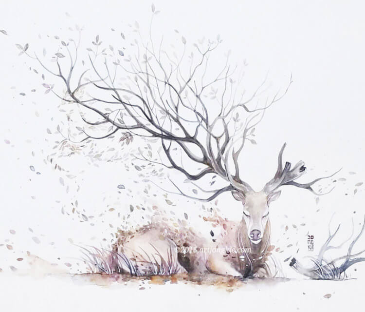 Rest in Peace watercolor painting by Art Jongkie