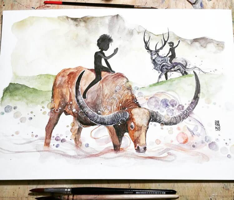 Riverbank watercolor painting by Art Jongkie