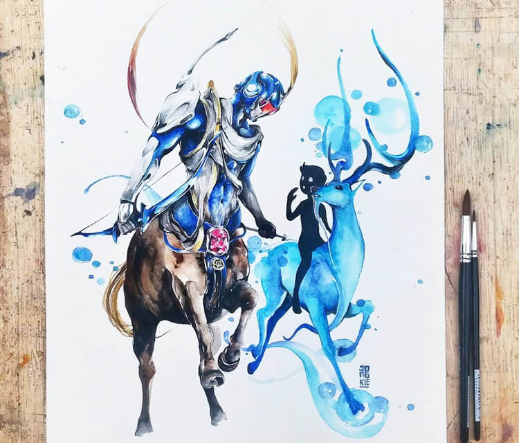 Sagitarius watercolor painting by Art Jongkie
