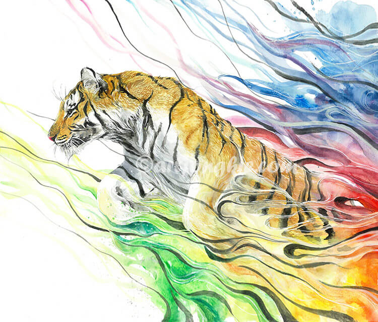 Siberian Tiger watercolor by Art Jongkie