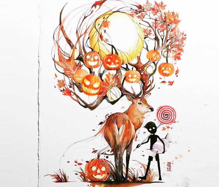 Sweet Autumn watercolor painting by Art Jongkie