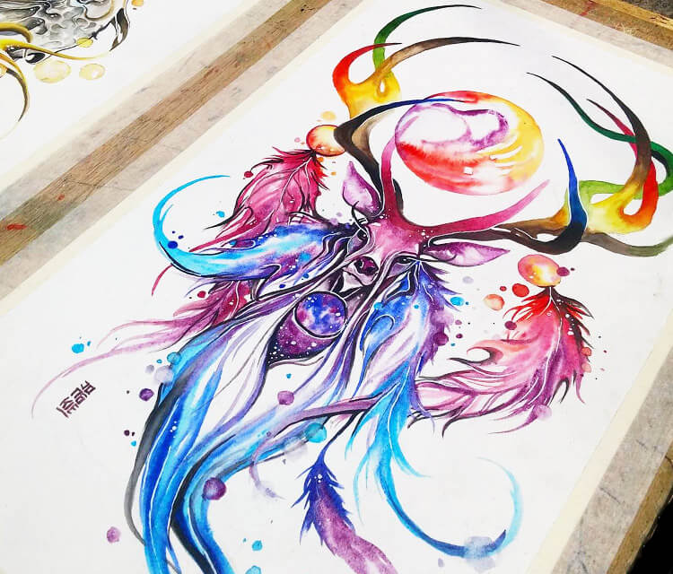 The Dream Catcher watercolor painting by Art Jongkie