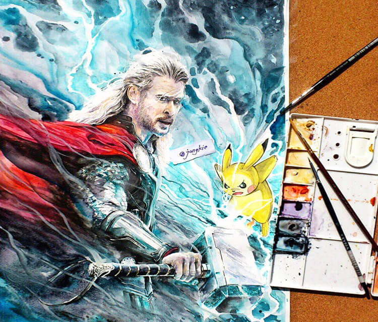 Thor vs Pikachu watercolor by Art Jongkie