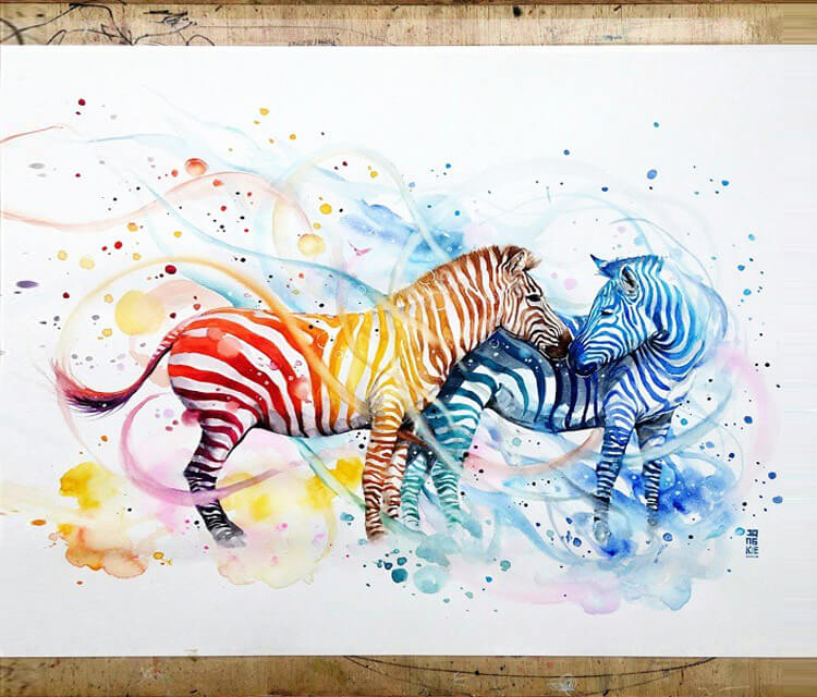 Zebras watercolor by Art Jongkie