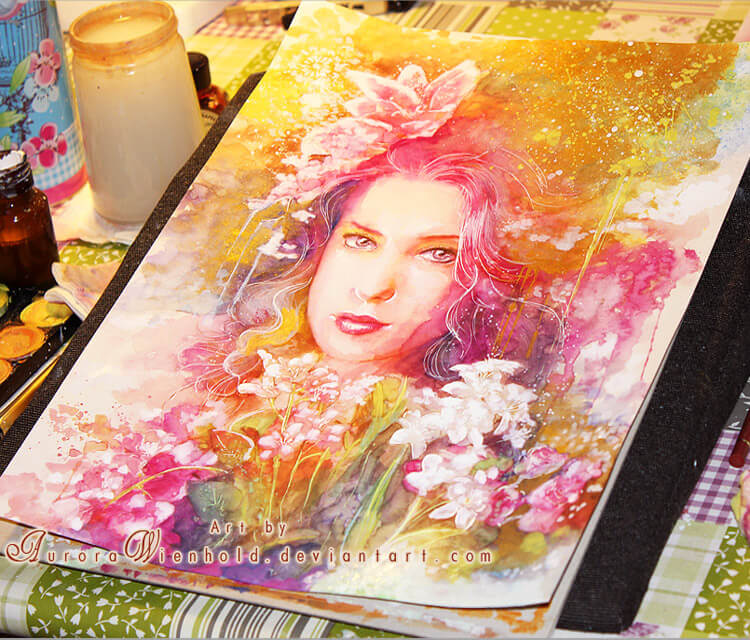 Lady of the Flowers watercolor painting by Aurora Wienhold