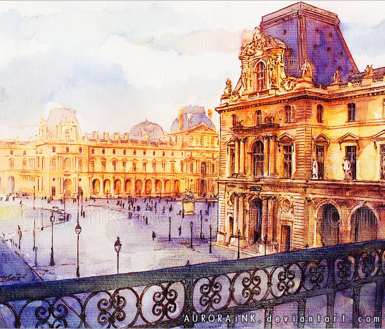 Louvre watercolor painting by Aurora Wienhold