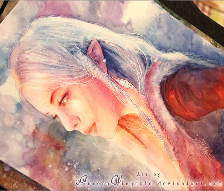 Tell me a secret watercolor painting by Aurora Wienhold