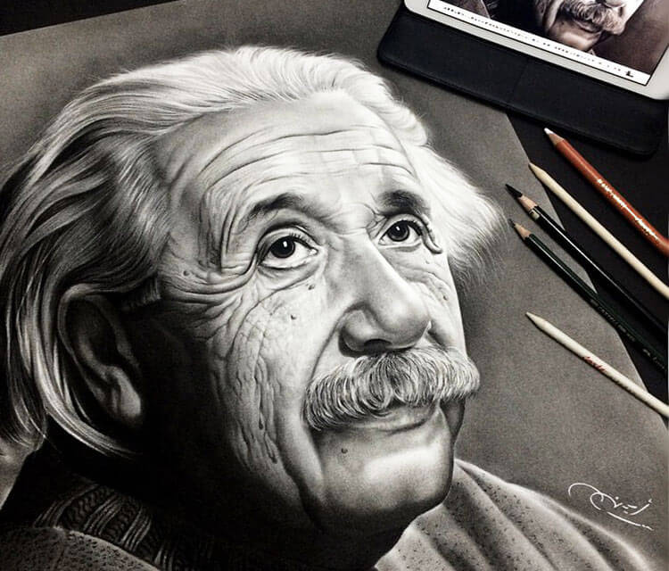 Albert Einstein drawing by Ayman Arts