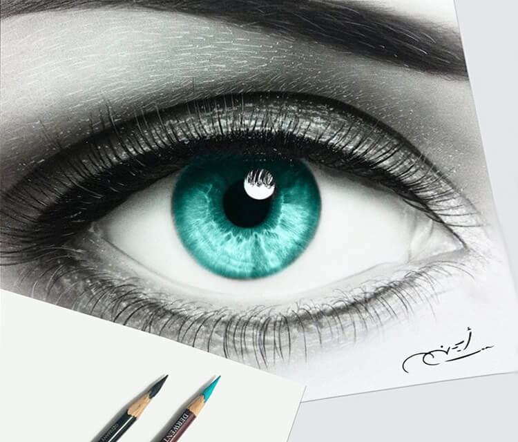 Blue Eye drawing by Ayman Arts