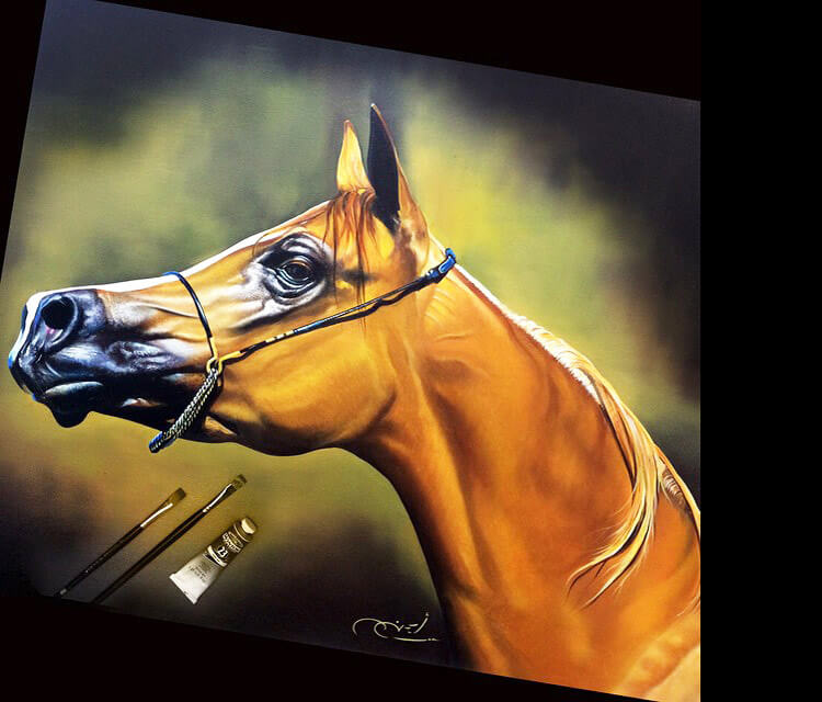 Brown Horse painting by Ayman Arts