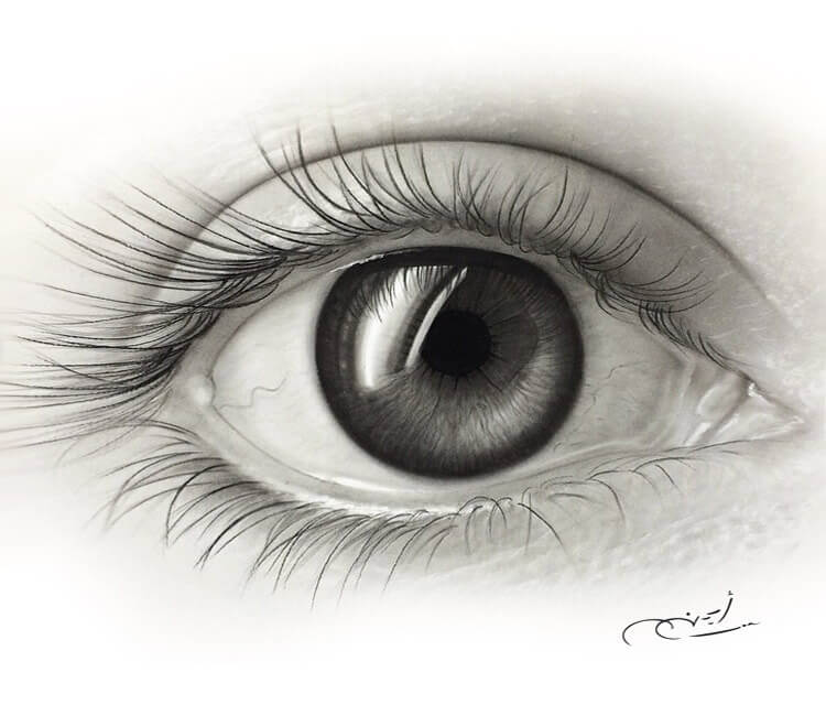 Eye Drawing: Black And Gray Eye Drawing By Ayman Arts