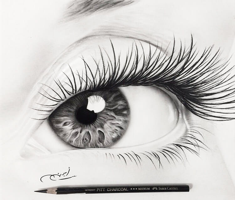 Black and Gray Eye drawing by Ayman Arts