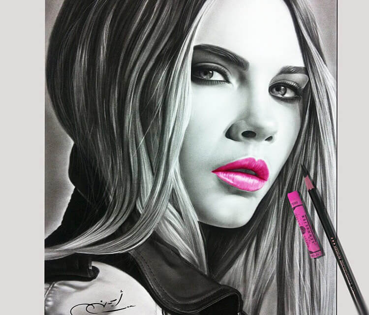 Portrait drawing of Victoria Beckham by Ayman Art