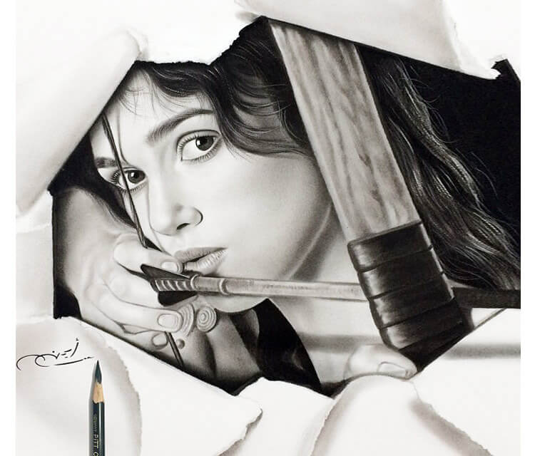 Black and gray drawing by Ayman Arts