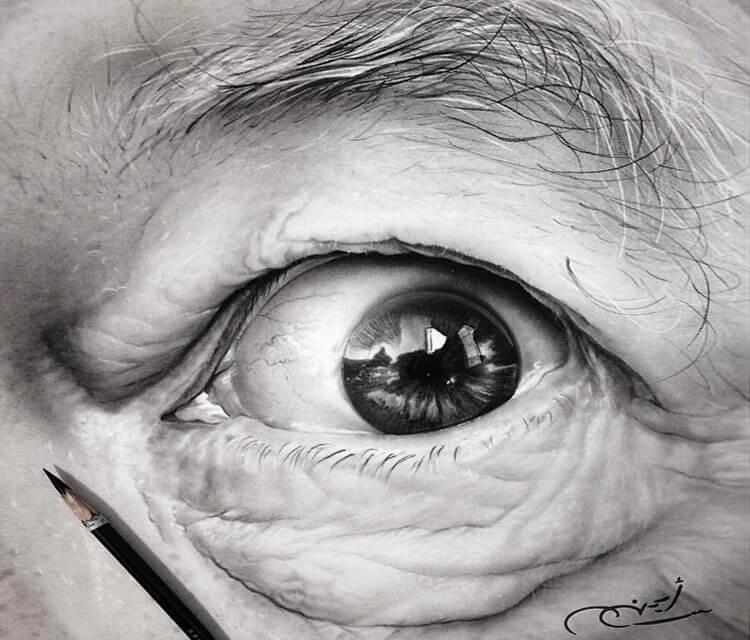 Drawing of eye old man by Ayman Arts