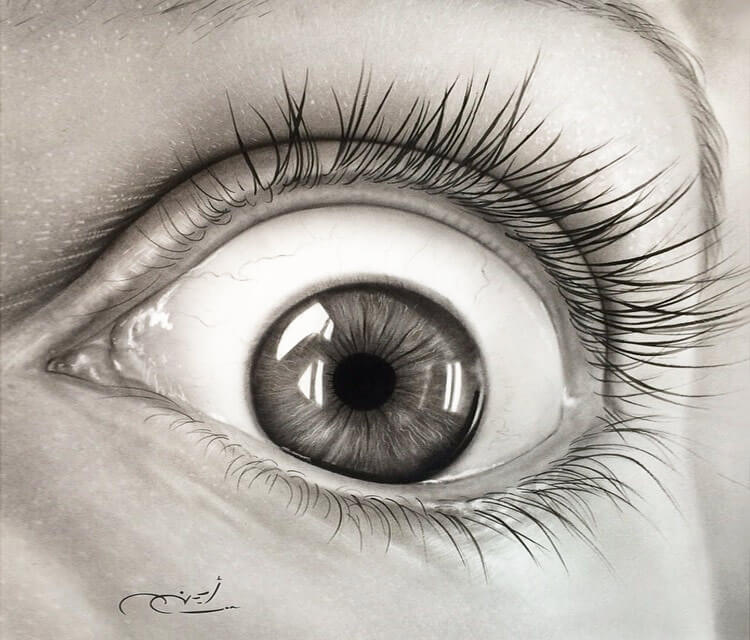 Black end gray drawing eye by Ayman Arts