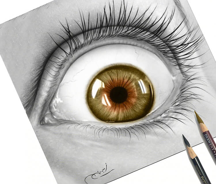 Gold eye drawing by Ayman Arts