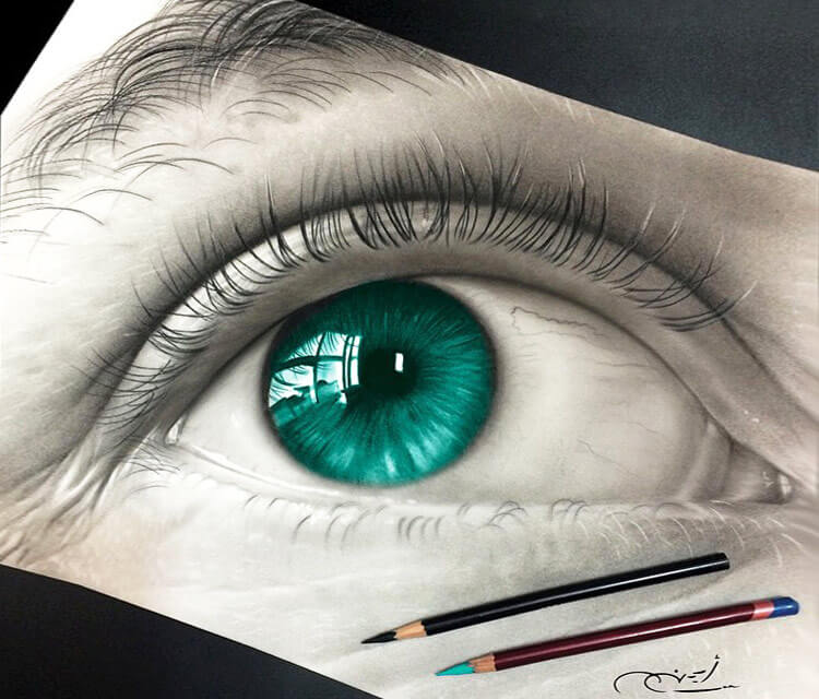 Green eye drawing by Ayman Arts