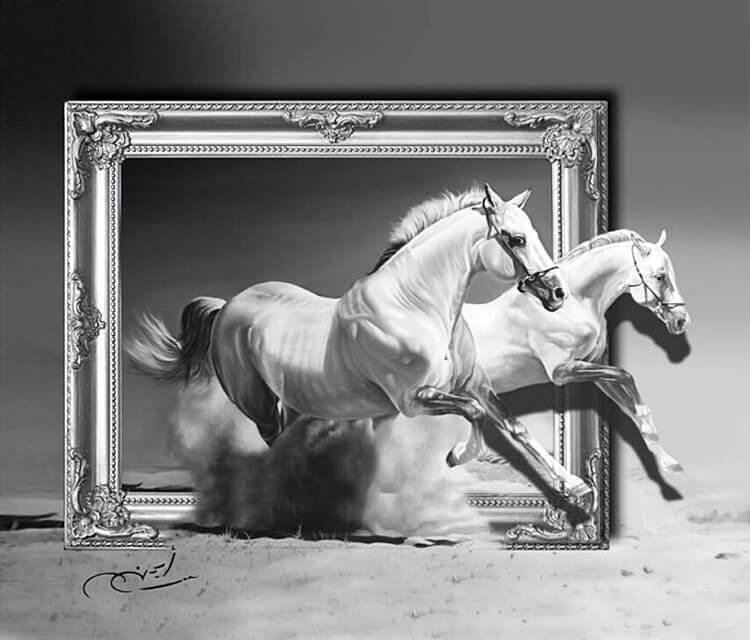 Realistic Horse pencil drawing by Ayman Arts