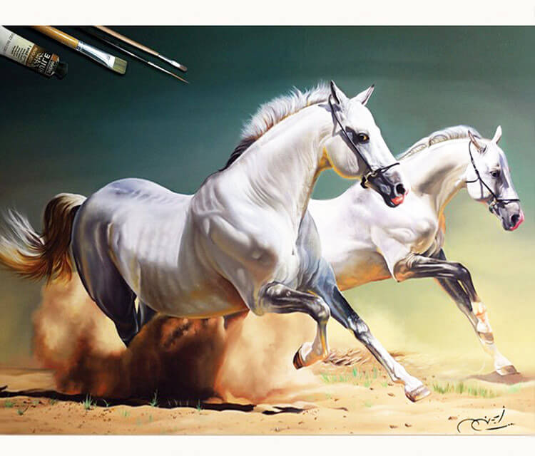 Realistic Horse painting by Ayman Arts