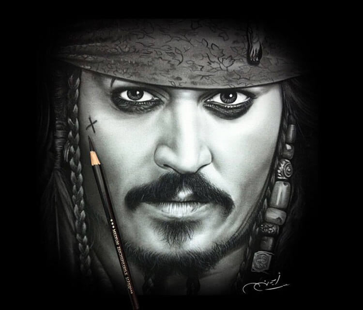 Portrait drawing of Jack Sparrow by Ayman Arts