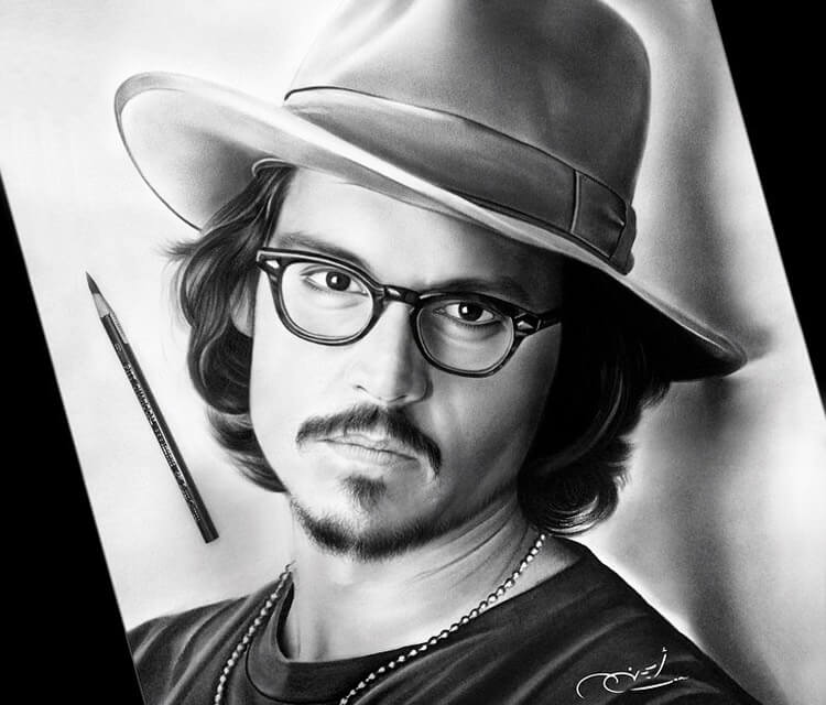 Johny Depp portrait drawing by Ayman Arts