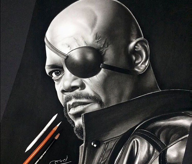 Nick Fury drawing by Ayman Arts